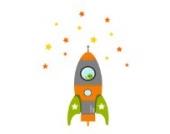 Individuelle Rakete Wandtattoo von Stickerscape - Wandaufkleber (Orange, Großes Größe)