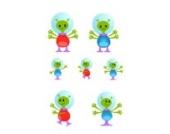 Alien Familie Wandtattoo von Stickerscape - Wandaufkleber (Großes Größe)