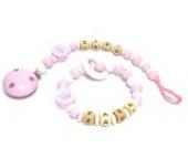 Schnäppchenset Premium Greifling und Schnullerkette mit Namen Little Princess in pink und weiß
