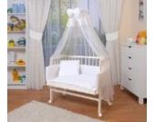 WALDIN Baby Beistellbett komplett mit Ausstattung, höhen-verstellbar, Buche Massiv-Holz weiß lackiert, 16 Modelle wählbar,weiß