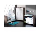 Komplett Kinderzimmer ECO WILDEICHE, 3-tlg. (Kinderbett, Wickelkommode und 3-türiger Kleiderschrank), Wildeiche/weiß Gr. 70 x 140