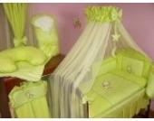 Lux4Kids Kinderbettausstattung Bett Set 135x100 Nestchen Wickelauflage Himmel & Stange Mobile Kopfkissen Spannbettlacken 02 Mond Grün