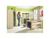 Komplett Kinderzimmer LASSE, 4-tlg. (Kinderbett, Kommode, Wickelaufsatz und 2-türiger Kleiderschrank), Esche/Lava Gr. 70 x 140