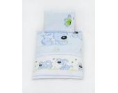 Bettwäscheset mit Decke 70x50 Bettzeug für Kinderwagen Stubenwagen Babywiege (Muster: Hund mit Knochen_puderblau)
