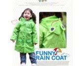 HuntGold Süß Kinder Jungen Mädchen Regen Mantel Outwear mit Kapuze wasserdichte Regenjacke Cartoon (grün)