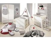 Komplett Kinderzimmer ROCK STAR BABY, 3-tlg. (Kinderbett, Wickelkommode und 2-türiger Kleiderschrank), Weiß/Grau Gr. 70 x 140
