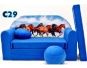 C29 Kindersofa Ausklappbar Schlafsofa Couch Sofa Minicouch 3 in 1 Baby Set + Kindersessel und Sitzkissen + Matratze