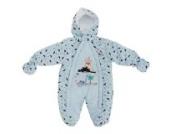 Baby Schneeanzug mit Kapuze, Dinosaurier und Vulkan (Neugeborene) (Blau)