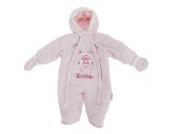 Baby Schneeanzug mit Kapuze, Teddy Bär, Smile (3-6 Monate (56-62)) (Pink)