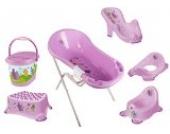 8er Set Hippo lila Badewanne XXL 100 cm + Badewannenständer + Badesitz + Topf + WC Aufsatz + Hocker + Windeleimer + Waschhandschuh