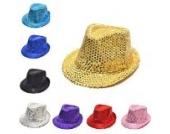 Pailletten Design Kinder FedoraMütze Panama Partei Paillette Sommer Kappe Runde Mütze (silber)
