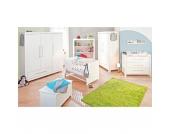 Komplett Kinderzimmer PURO groß, 3-tlg. (Kinderbett, Wickelkommode breit und 3-türiger Kleiderschrank), Fichte massiv/weiß lasiert Gr. 70 x 140