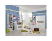 Komplett Kinderzimmer LILLY, 3-tlg. (Kleiderschrank 3-trg., Kinderbett, Wickelkommode), Alpinweiß/San Remo Eiche Gr. 70 x 140