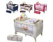 TecTake Kinder Reisebett höhenverstellbar mit Babyeinlage -diverse Farben- (Beige)