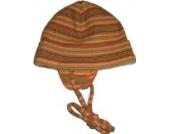 Wintermütze/Strickmütze mit Bindeband, gestreift (43, orange gestreift)