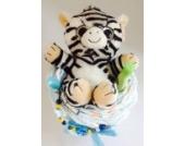 Elfenstall Windeltorte/Pamperstorte mit weicher Stoffier-Rassel Bär und Schnullertkette als tolles Geschenk/Geschenkset zur Geburt oder Taufe auf Wunsch mit Name des Babys