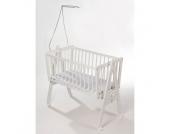 easy baby Wiege weiß inkl. Matratze und Himmelhalter - Gr.90x45 cm