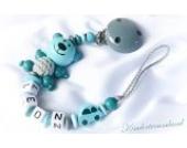 Baby Schnullerkette Teddy für Jungen mit Wunschnamen - Kinder - Geschenk zur Geburt, Taufe - Länge: max. 22cm (ohne Clip) (Teddy, Weiß, Türkis)