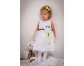 Babykleid, Kleinkindkleid, Festkleid Kleid für Mädchen in weiß 3 Teile Kleid, Bolero, Stirnband Gr. 98