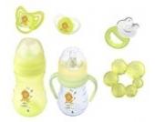 6er Set: 2 x Baby Flasche + 2 x Schnuller + 2 x Beißring Hippo grün