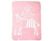 Alvi Babydecke Baumwolle mit Kettelkante Design Musikanten rosa