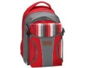 Rucksack Wickeltasche - Baby Rucksack von Three Little Imps - große Reisetasche - rote Streifen w Grund Decke/Picknick-Decke und wasserdichte Baby Matte