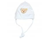 Steiff Bindemütze, gestreift, Teddy-Applikation, für Babys