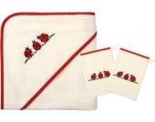 Set Kapuzenbadetuch mit 2 Waschlappen, Käferfamilie, weiß/rot, 80 x 80 cm
