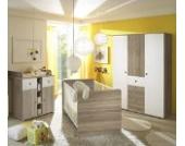 Babyzimmer Kinderzimmer komplett Set WIKI 6 in Eiche Sonoma / Weiß Komplettset mit grossem Kleiderschrank, Babybett, Lattenrost und Wickelkommode mit Wickelaufsatz