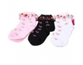 Luckystaryuan ® 3-er Set Cotton Mädchen schnüren sich Socken Kinder-Frühlings-Herbst Strawberry Sock Geschenk (5-7 years old)
