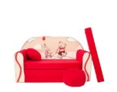 Kinder Sofa Couch Baby Schlafsofa Kinderzimmer Bett gemütlich verschidene Farben und motiven (D26 rot Teddy)