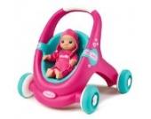 Smoby 210202 - MiniKiss 2-in-1 Baby Walker, Puppenwagen und Lauflernhilfe