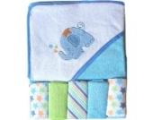 Handtuch mit Kapuze, weich, inkl. Waschlappen, Blauer Elefant, einheitsgröße
