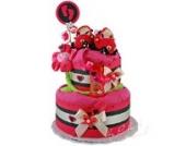 Windeltorte/Pamperstorte > Babygeschenk für Mädchen in schönem Schwarz-Pinkton // Geschenk zur Geburt, Taufe, Babyparty // originelles und praktisches Geschenk für Babys