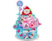 Windeltorte/Pamperstorte 1.105 > Babygeschenk für Mädchen in schönem Rosa-Türkiston // Geschenk zur Geburt, Taufe, Babyparty // originelles und praktisches Geschenk für Babys