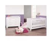 Kinderbett & breite Wickelkommode Sparset ICE, weiß edelmatt Gr. 70 x 140