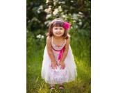 Festkleid KLEID mit Schleife in WEISS-CORAL pink Gr��e 92-110