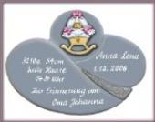 Keramik Schild Geburt - Tafel zur Taufe mit Gravur & süßem Wiegebett-Motiv Schildgröße: 26x19 cm