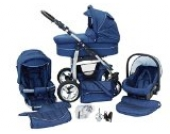 Chilly Kids Dino 3 in 1 Kinderwagen Set (Autosit & Adapter, Regenschutz, Moskitonetz, Schwenkräder) 26 Marine & Blau