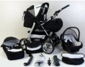 Clamaro 'VIP 2018' Premium Kinderwagen 3 in 1 Kombi System (40 Farben) Kombikinderwagen Komplettset mit Soft Babywanne, Sport Buggy und Autositz Babyschale Gruppe 0+ (0-13 kg), Felge: GRAU (Hartgummi Reifen), Farbmuster: 8. Dunkelblau/Hellblau