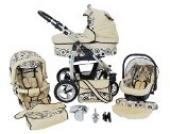 Chilly Kids Dino 3 in 1 Kinderwagen Set (Autosit & Adapter, Regenschutz, Moskitonetz, Schwenkräder) 21 Beige & Kreise