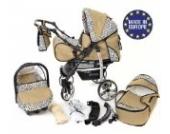 Sportive X2-3 in 1 Reisesystem einschließlich Kinderwagen mit schwenkbaren Rädern, Kinderautositz, Buggy und Zubehör, Reisesystem, Beige und Leopard