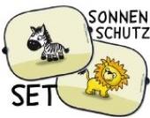 Auto Sonnenschutz Set - 2 Stück - Löwe und Zebra - Sonnenblende Schattenspender Baby Kinder