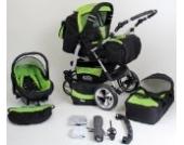 Clamaro VIP Volver 3in1 Premium Kinderwagen 3 in 1 Kombi mit 360° Schwenkrädern (über 40 Farben wählbar) Kombikinderwagen Komplettset mit Soft Babywanne, Sport Buggy und Auto Babyschale Aufsatz (ISOFIX), Felge: ALU (Hartgummi Reifen), Farbmuster: 51.