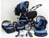 3 in 1 Kombikinderwagen Komplettset VIP - inkl. Kinderwagen, Babyschale und Sportwagen Aufsatz - 2. ALU Luft Bereifung zum aufpumpen - 11. Schwarz-Blau