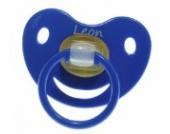 3 Stk. Namensschnuller LEON / Größe 1 (0-6 Monate) / Kieferform / Latex / farblich sortiert (hellblau / grün / blau)