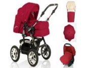 18 teiliges Qualitäts-Kinderwagenset 5 in 1 CITY DRIVER: Kinderwagen + Buggy + Autokindersitz + Schirm + Winter-Fussack - Megaset - all inclusive Paket in Farbe ROT