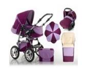 """17 teiliges Qualitäts-Kinderwagenset 5 in 1 """"FLASH"""": Kinderwagen + Buggy + Autokindersitz + Schirm + Winterfussack – all inklusive Paket in Farbe BORDEAUX-FLIEDER"""