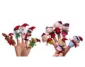 Decus Weihnachten Toys Fingerpuppensortiment 5 Tiere + 6 glücklich Familie Design