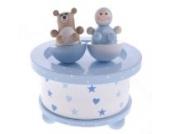 Kinder Spieluhr Holzspieluhr BOY AND BEAR, hellblau-weiß, Melodie: Hush little Baby